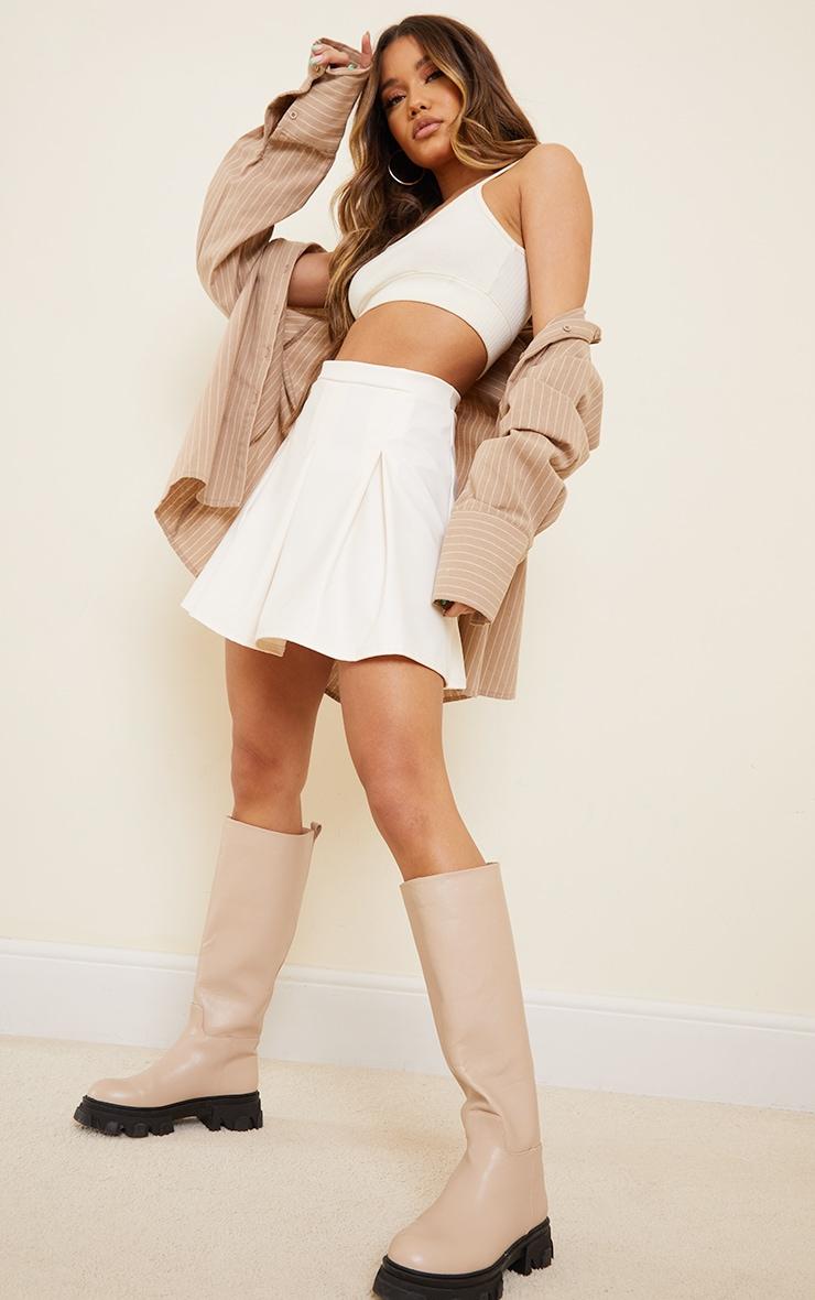 Cream Faux Leather Skater Skirt 1