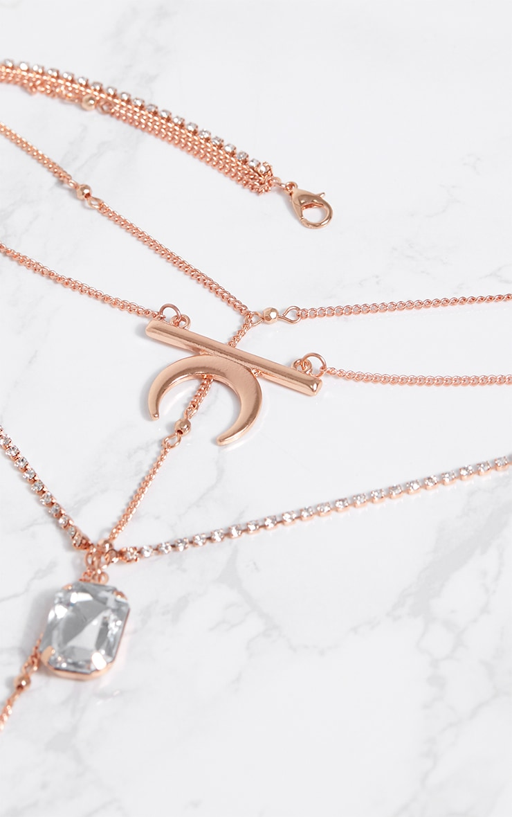 Rose Gold Multi Layer Necklace With Diamante 4