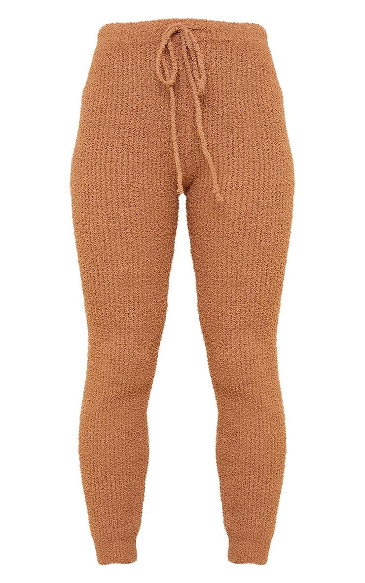 Tan Chenille Ribbed Tie Waist Leggings 5