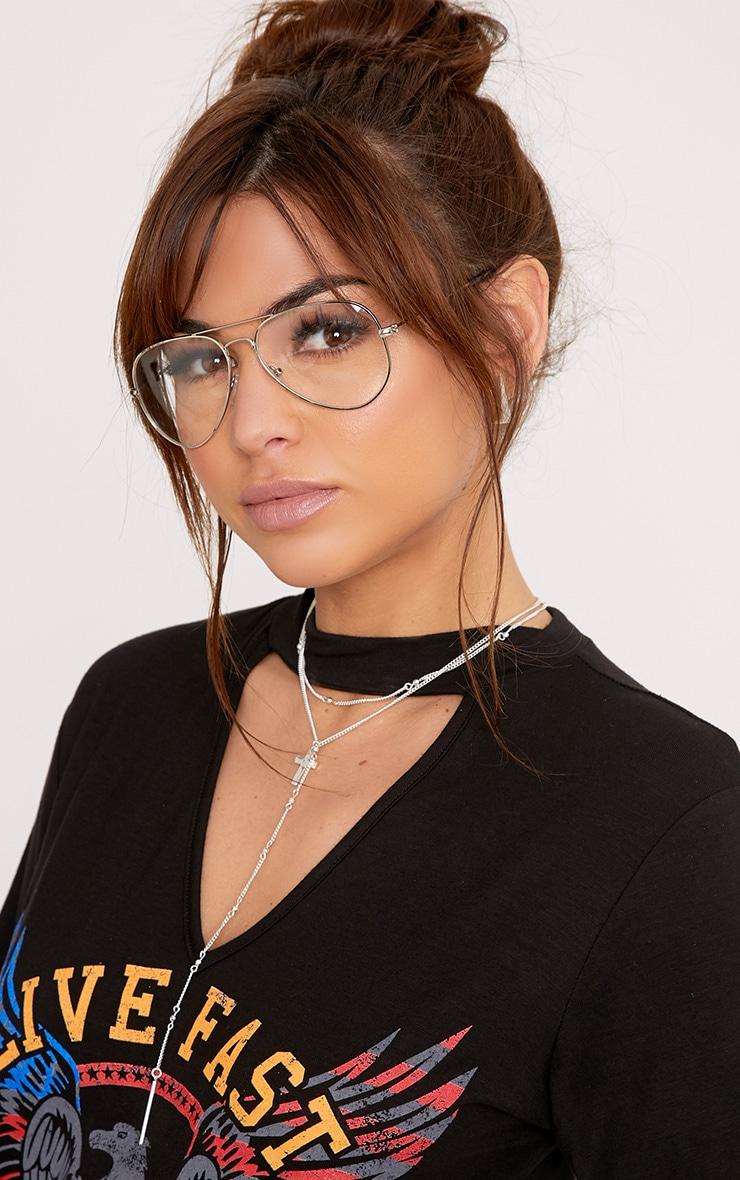 Kennie lunettes aviateur argentées à verres transparents 2
