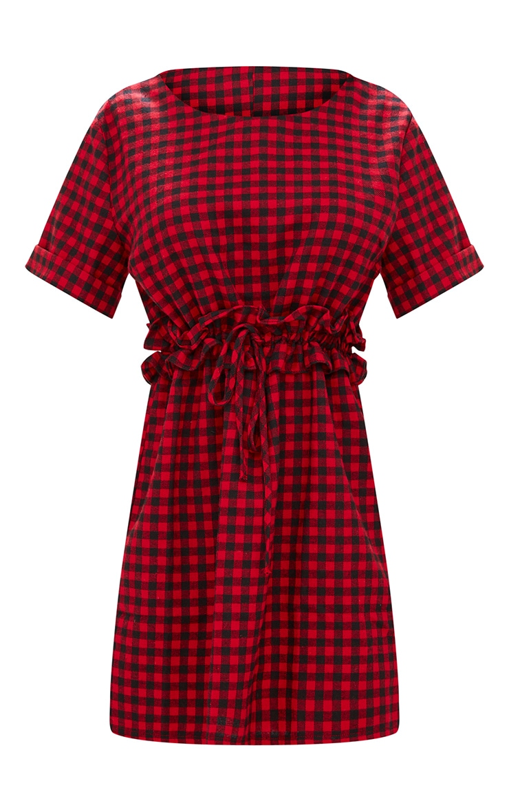 Red Checked Frill Waist Detail Shift Dress 3