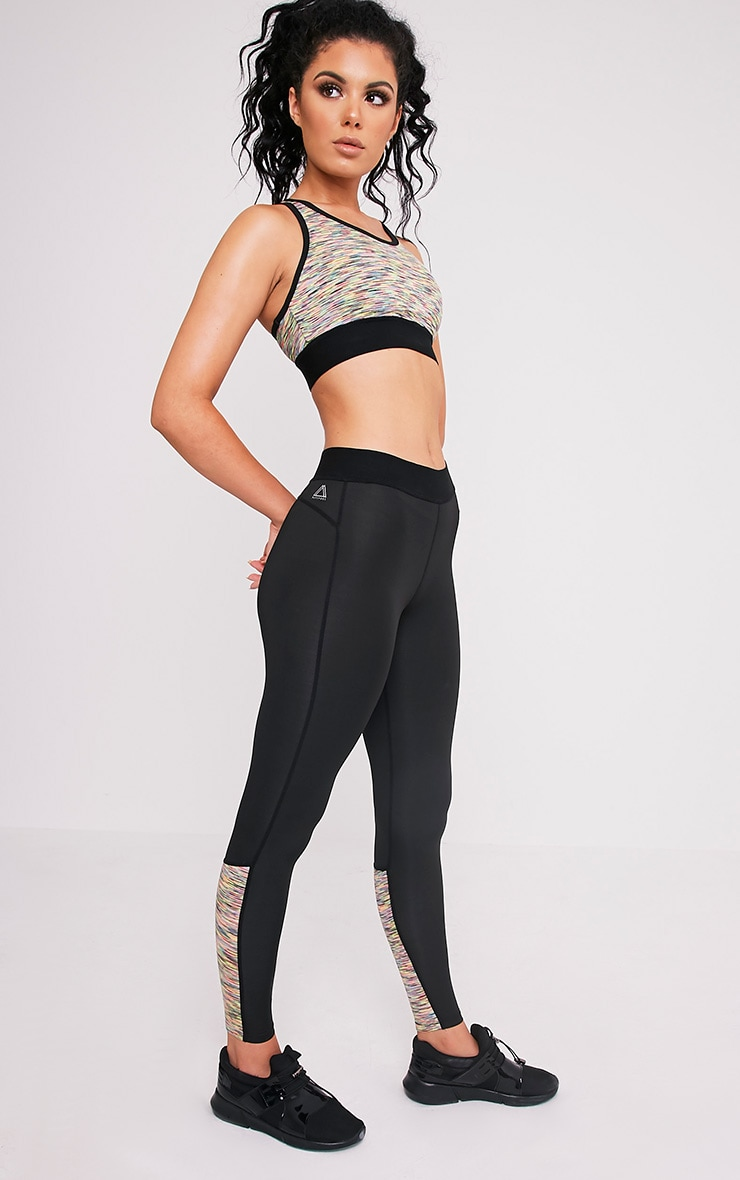 Sindie  Mutli Coloured Marl Panelled Gym Leggings 1