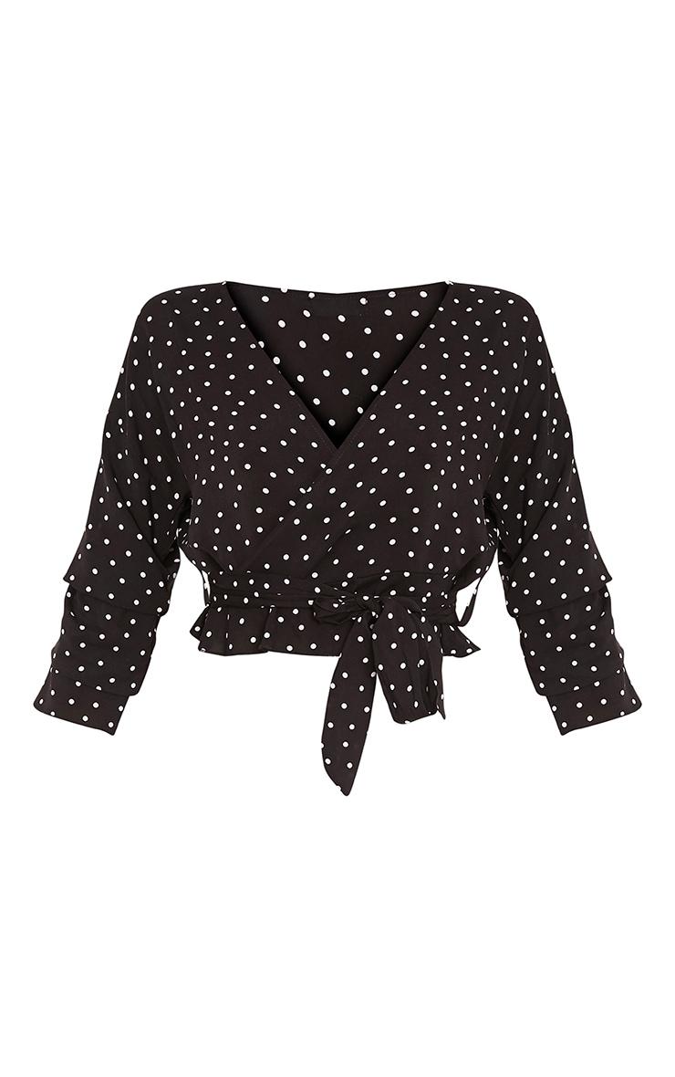 Gretta Black Woven Polka Dot Wrap Tie Blouse 3