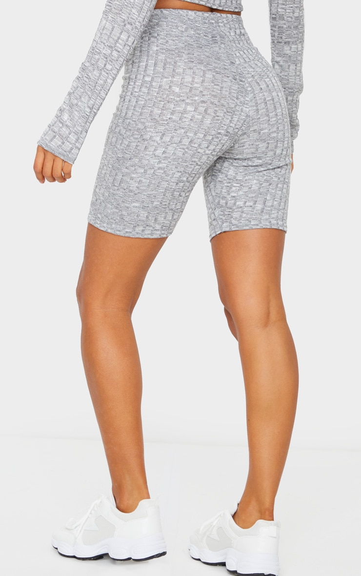 Grey Ribbed Knitted Bike Shorts 3