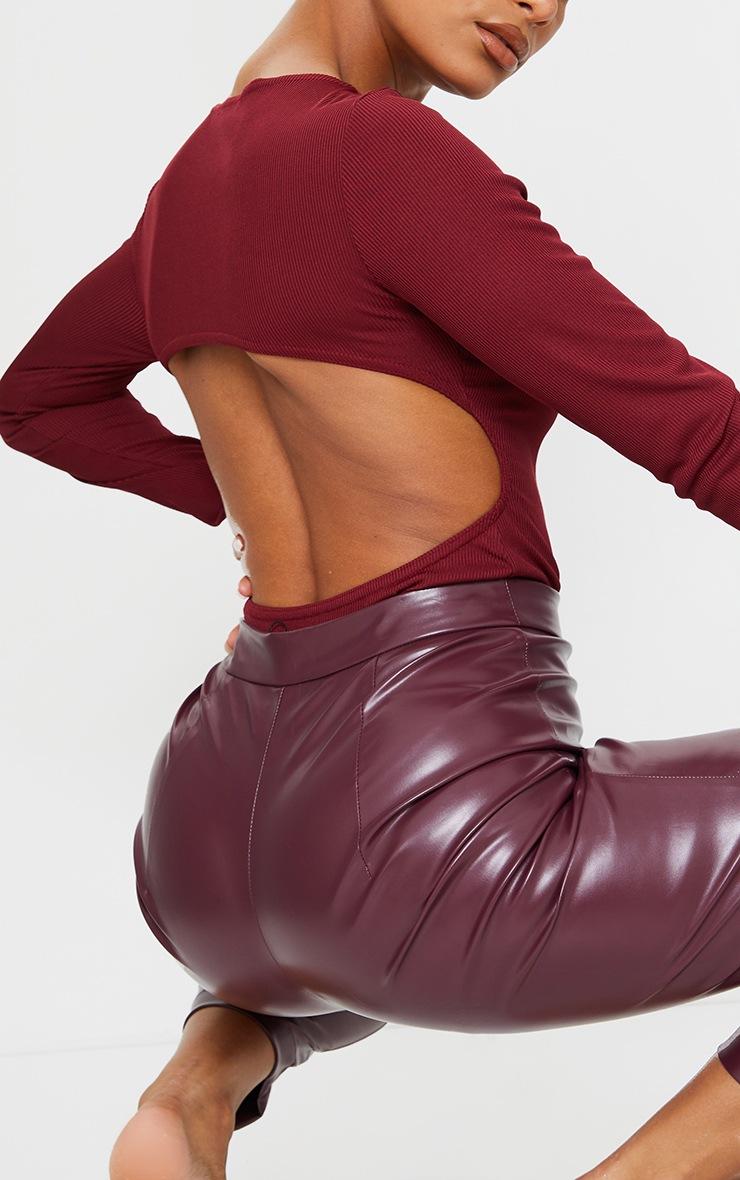 Chocolate Rib Cut Out Back Bodysuit 4