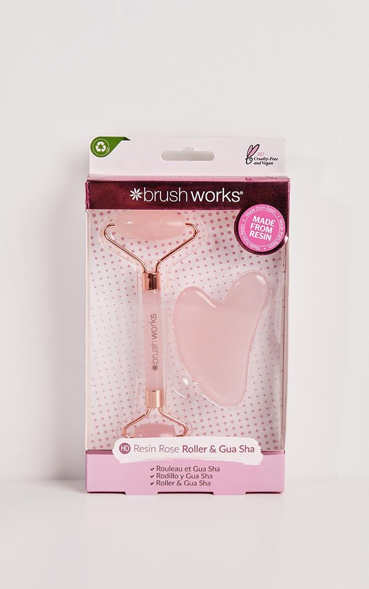 Brushworks Rose Resin Facial Roller & Gua Sha 2