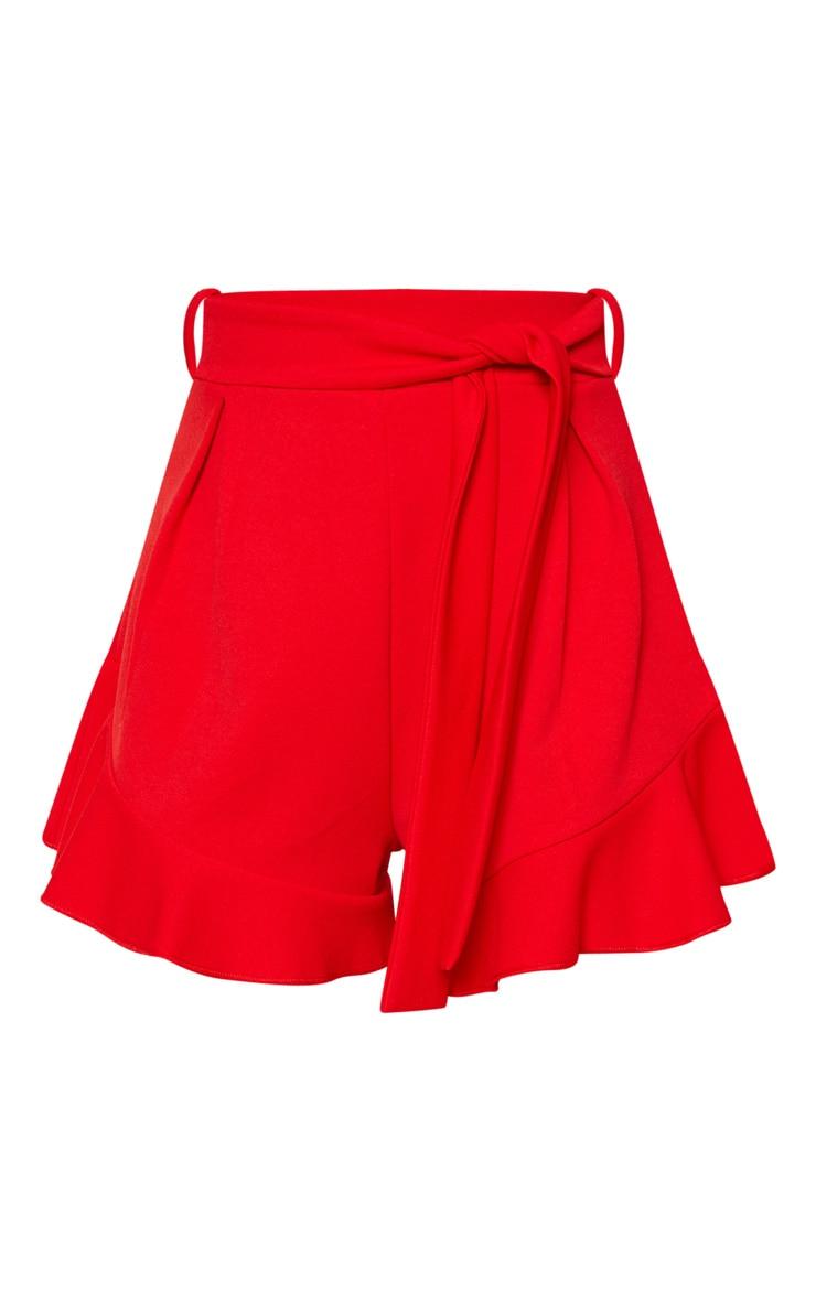Red Frill Hem Tie Waist Short  3