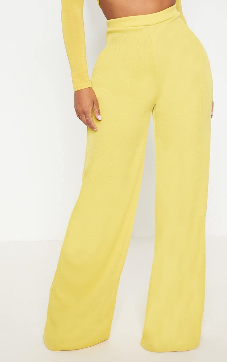 Shape Dark Lime Ribbed Bandage Wide Leg Trousers 2