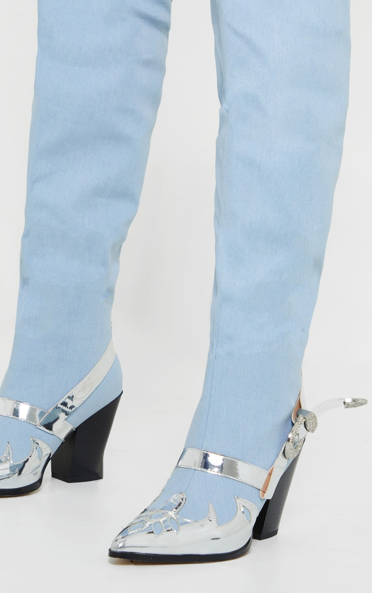 Denim Silver Flame Thigh High Western Boots 3