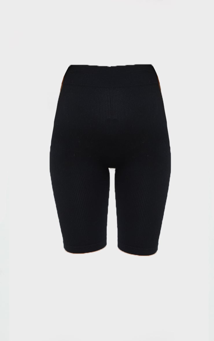 Maternity Black Structured Contour Rib Cycle Shorts 6