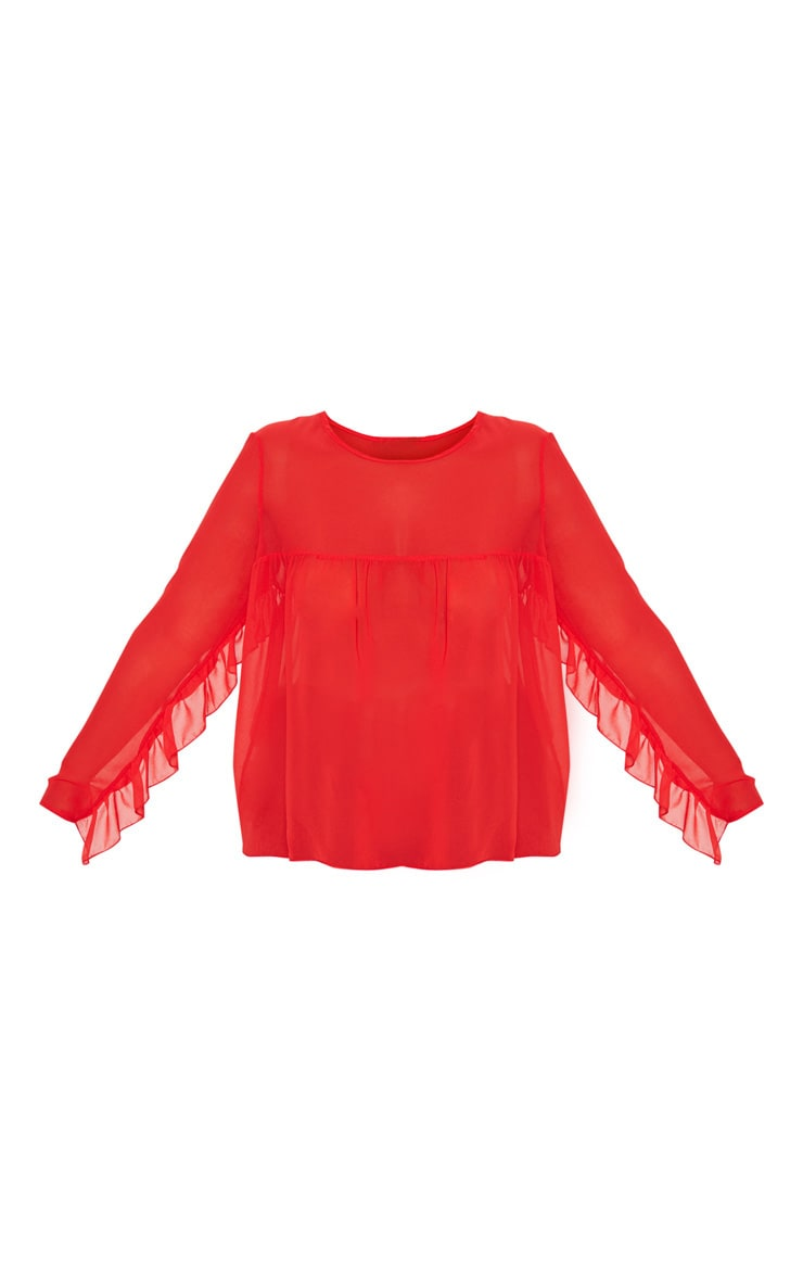 Plus Red Sheer Frill Sleeve Top 3