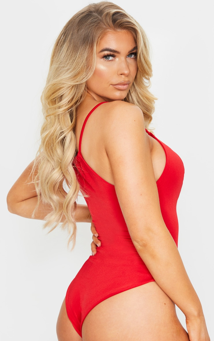 Red Ruched Neck Cut Out Halterneck Swimsuit 2