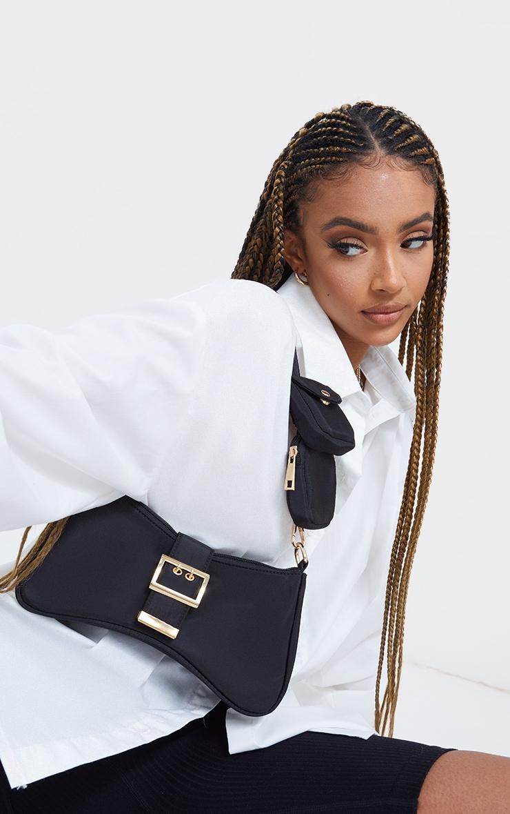 Black Nylon Multi Pocket Shoulder Bag 3