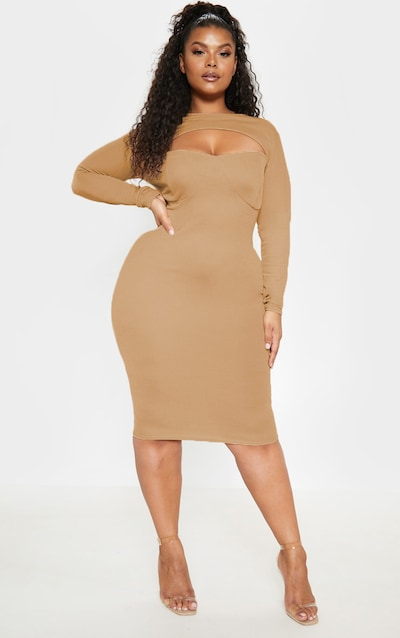 b386b590788 Plus Camel Cut Out Detail Midi Dress PrettyLittleThing Sticker