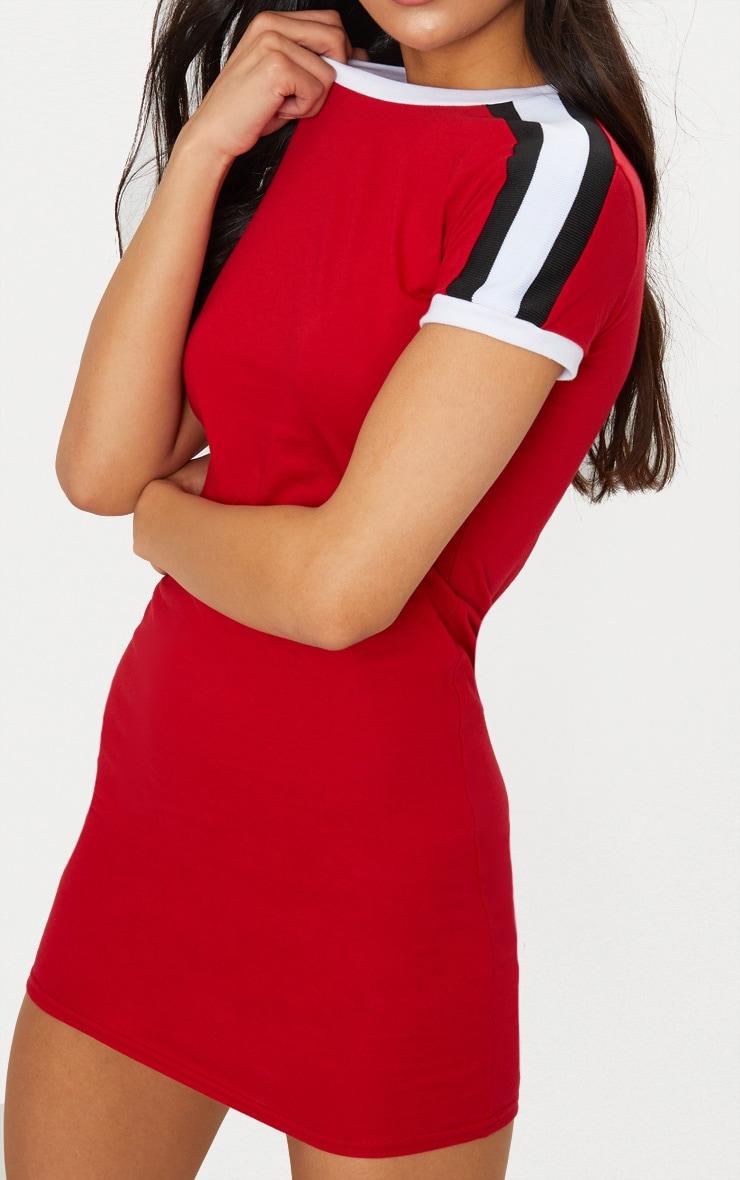 Red Triple Stripe Shoulder T Shirt Dress 5