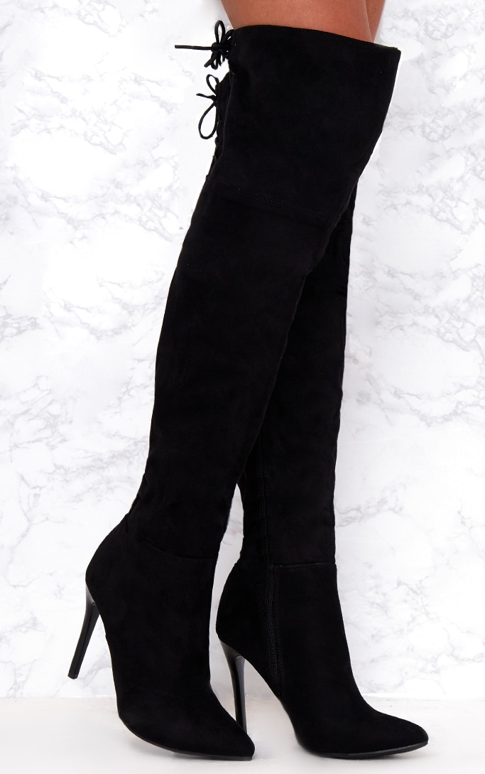 3934f8443ec Black Faux Suede Lace Up Back Thigh High Boots