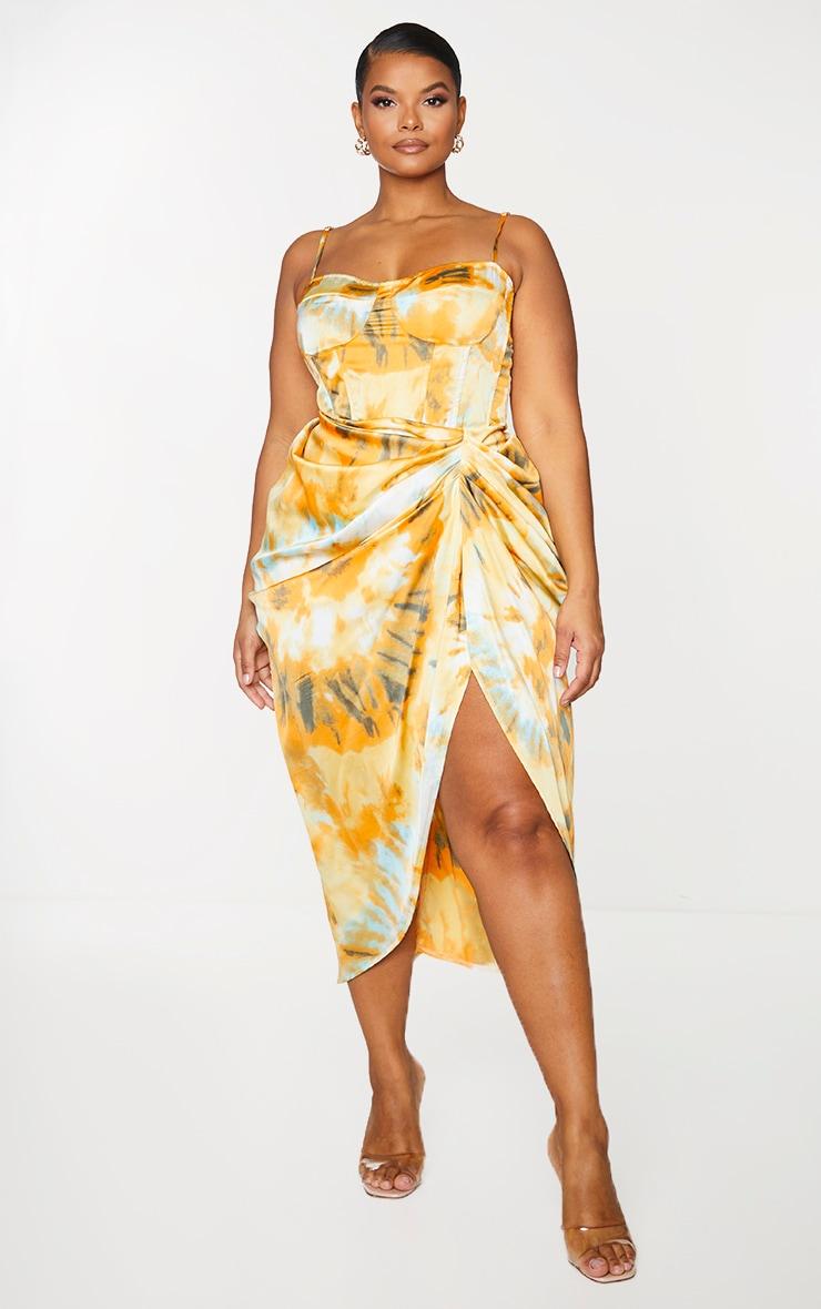 Plus Orange Tie Dye Ruched Side Midi Skirt 4