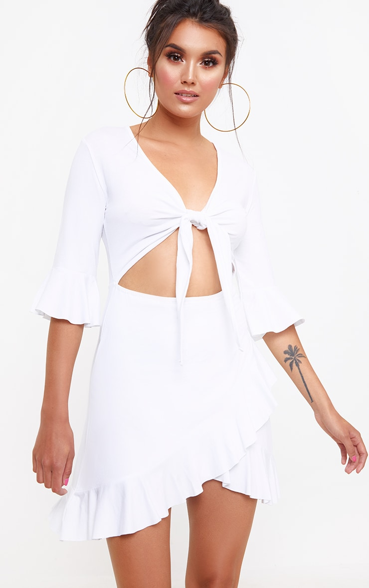White Frill Tie Front Shift Dress 1