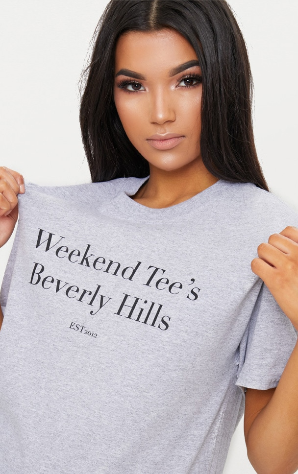 Grey Marl Weekend Tee Slogan Oversized T Shirt  4