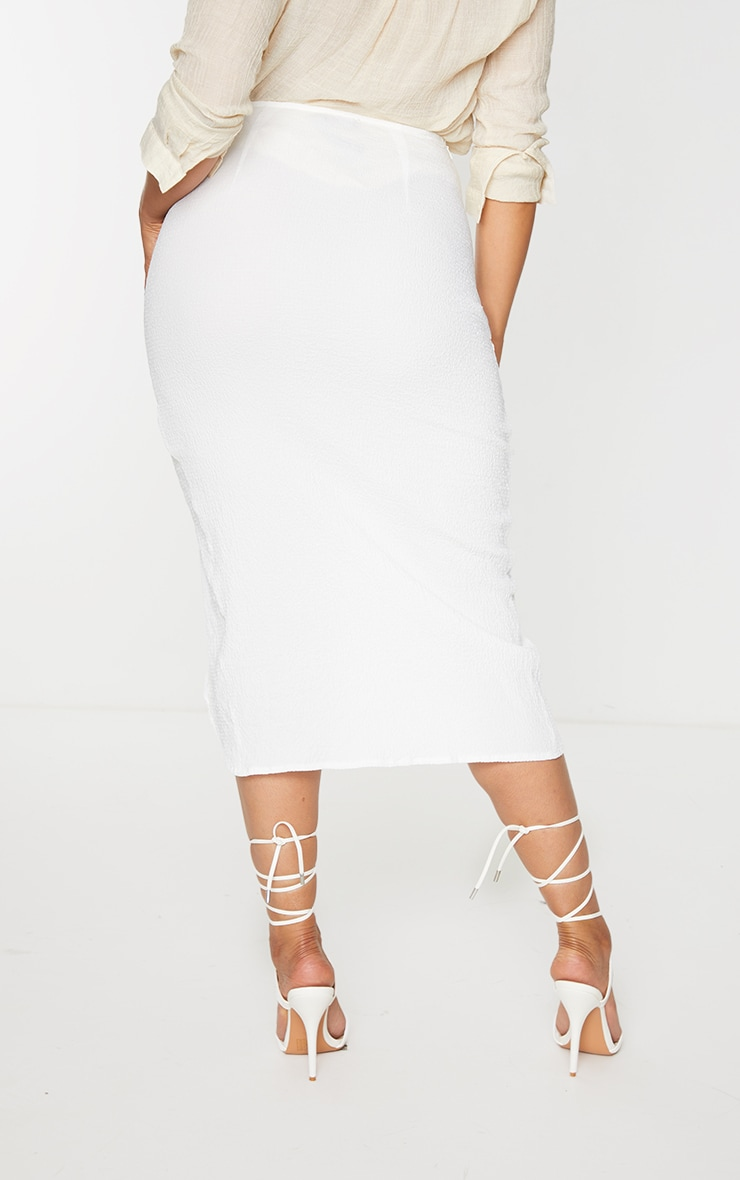 White Textured Knot Front Midi Skirt 3