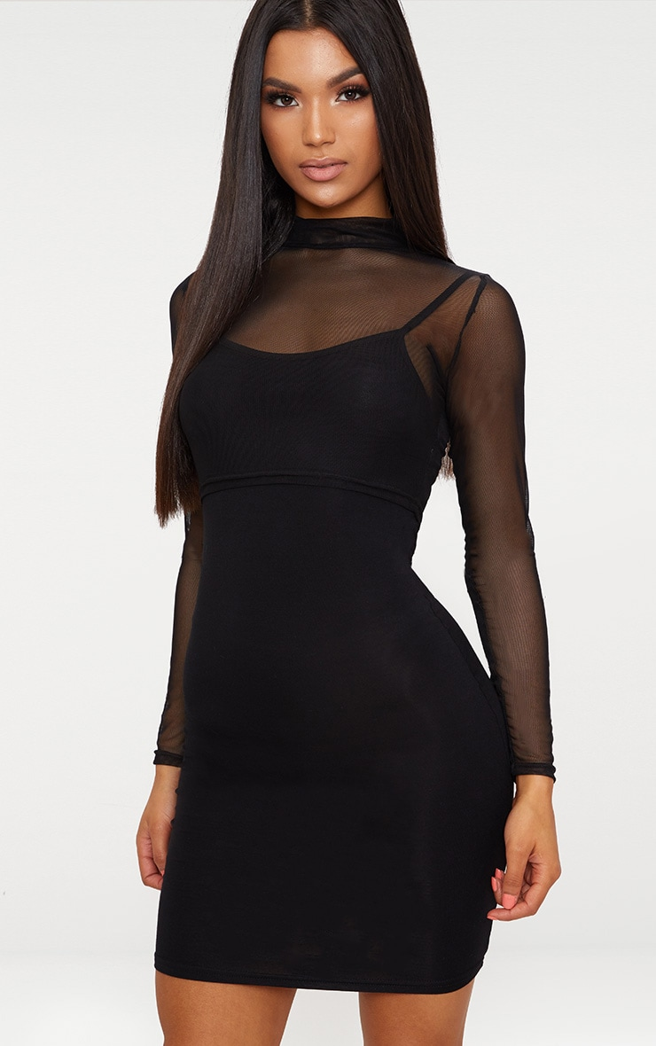 2 Pack Mesh Top And Bodycon Dress 1