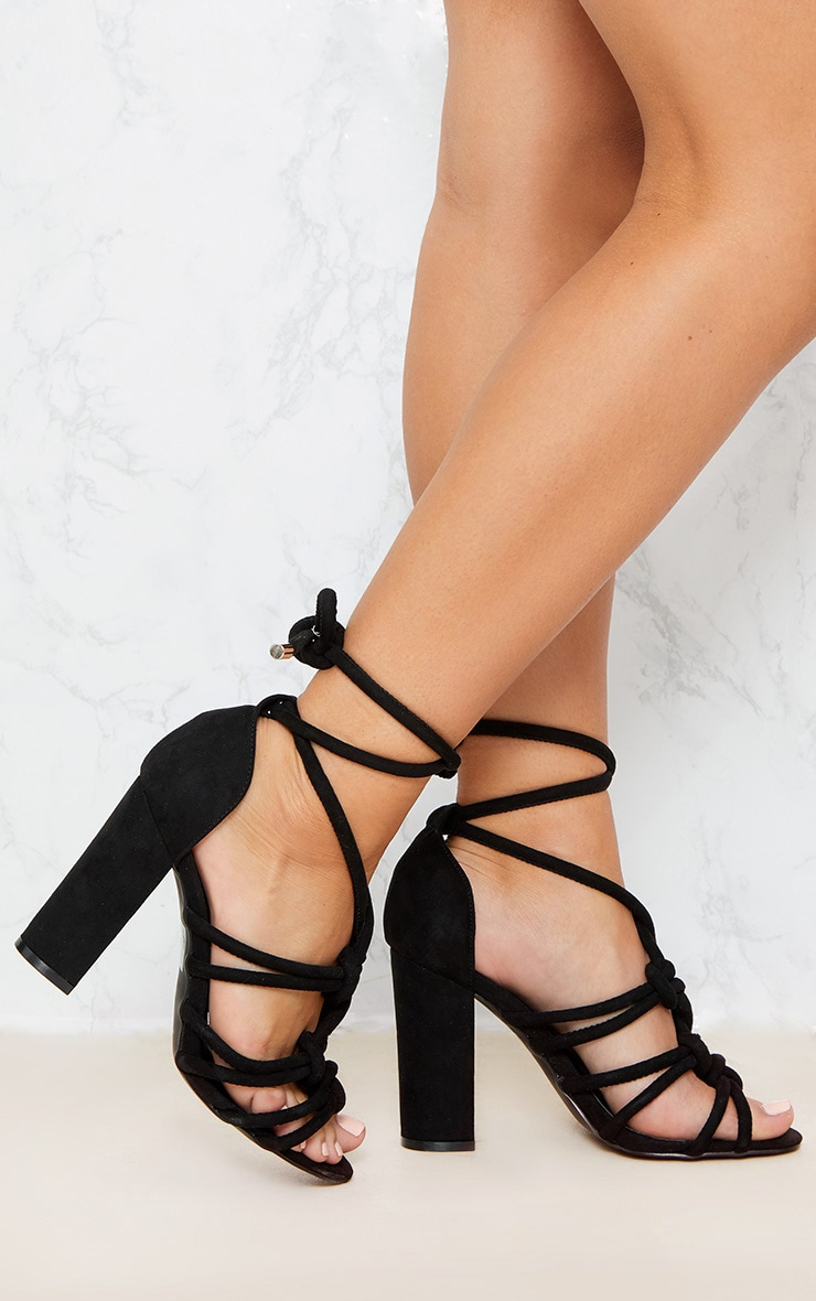 Black Knotted Rope Ankle Tie Block Heel 1