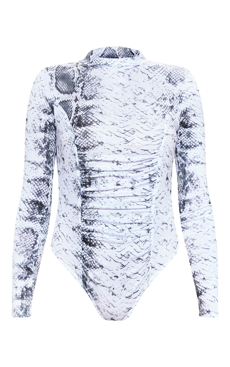 Grey Snake Print Ruched Long Sleeve Bodysuit 3