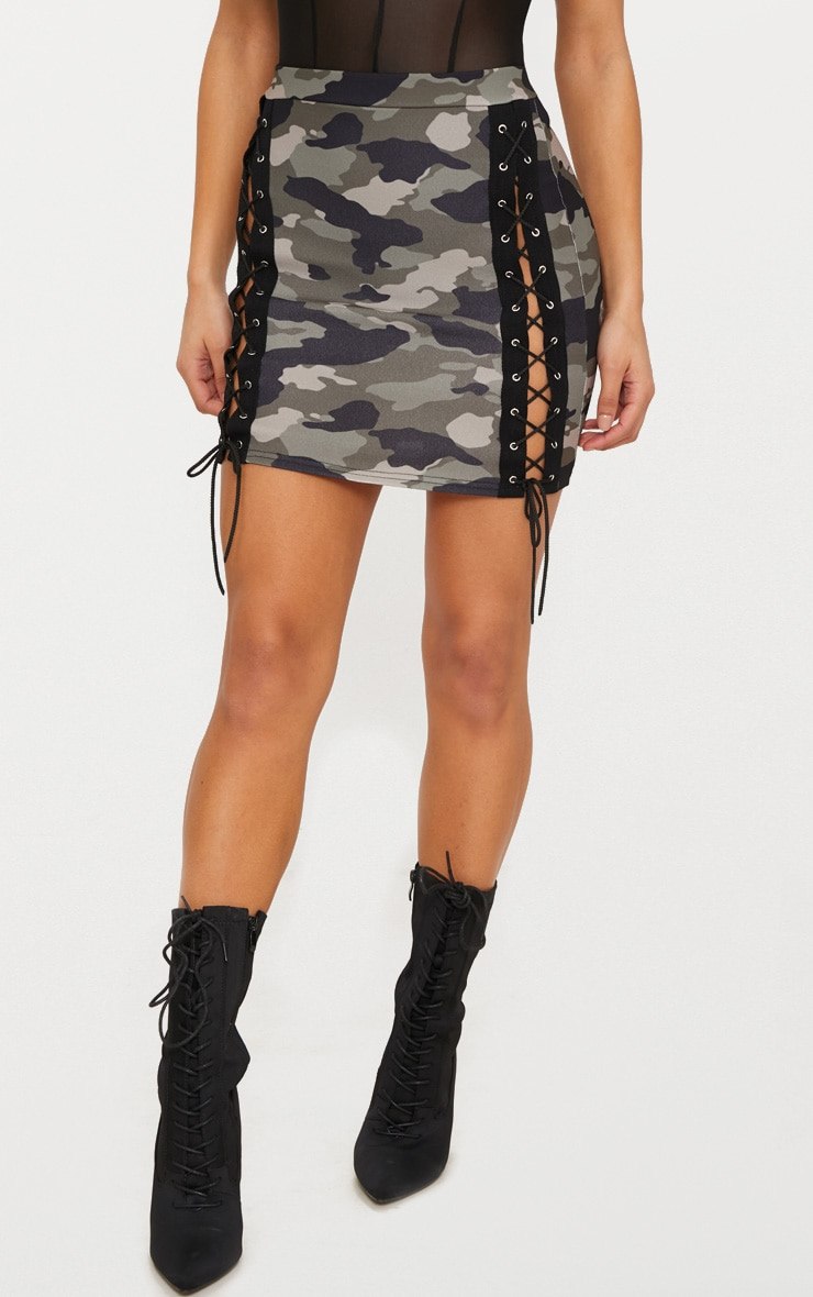 Khaki Camo Print Lace Up Front Mini Skirt  2
