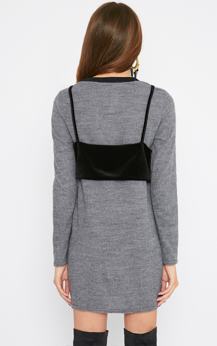 Adrianne Grey Crop Top Sweater Dress 2
