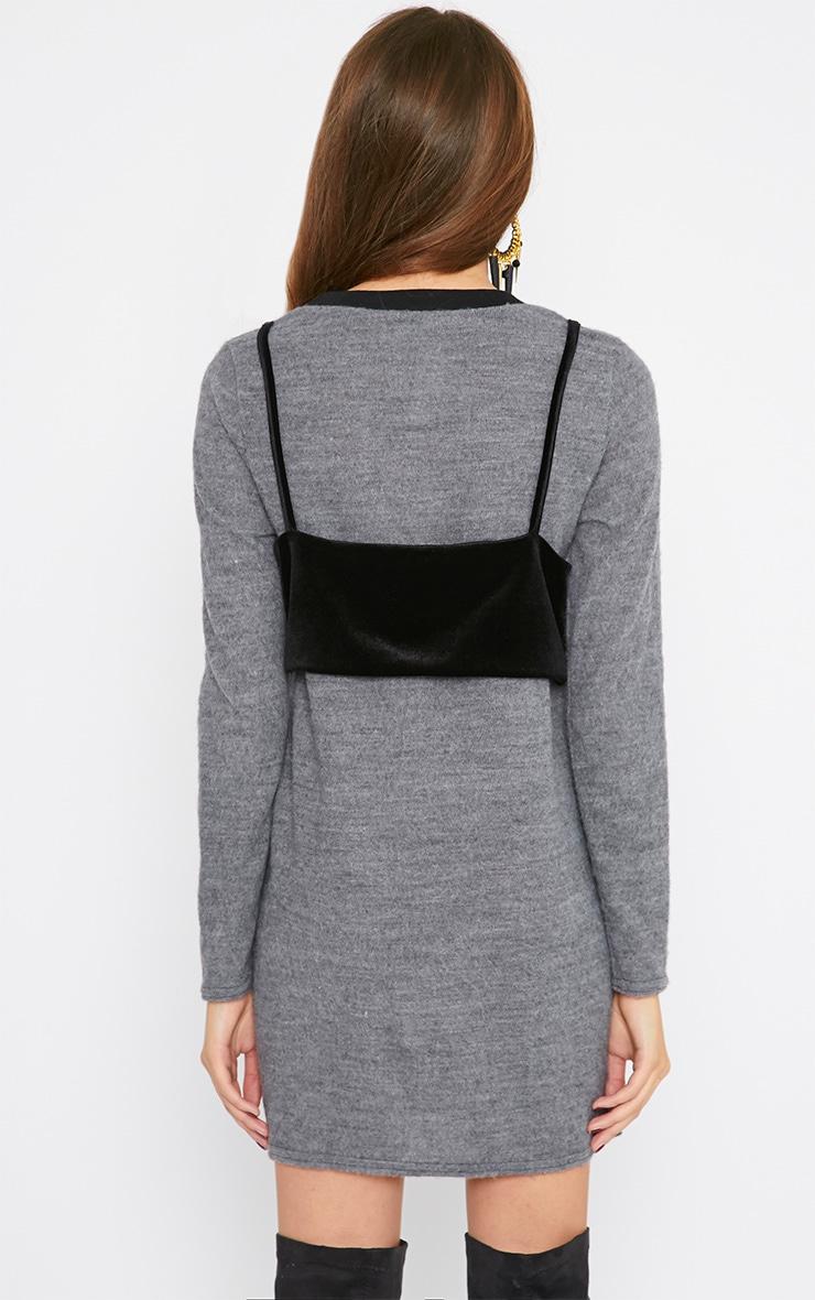 Adrianne Grey Crop Top Jumper Dress 2