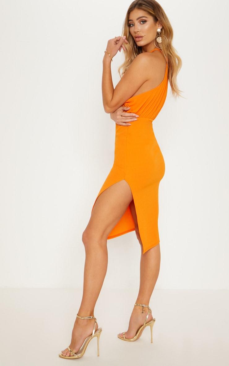 Bright Orange Halterneck Midi Dress 2