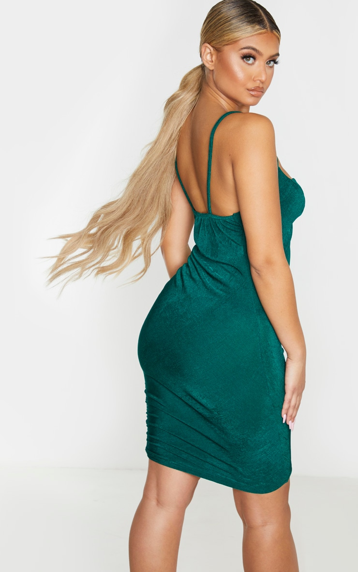 Emerald Green Textured Slinky Strappy Ruched Bodyon Dress 2