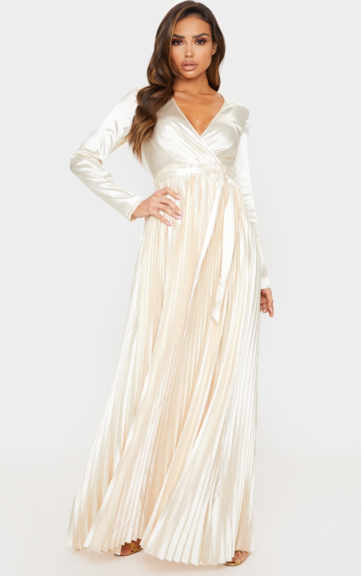 Champagne Satin Pleated Maxi Dress 4