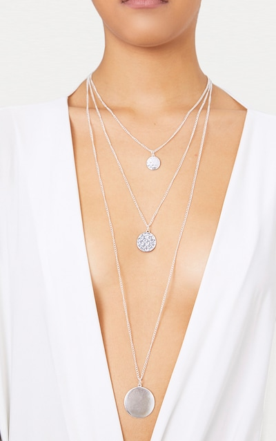 Silver Triple Layered Diamante Necklace Pretty Little Thing iJLl6