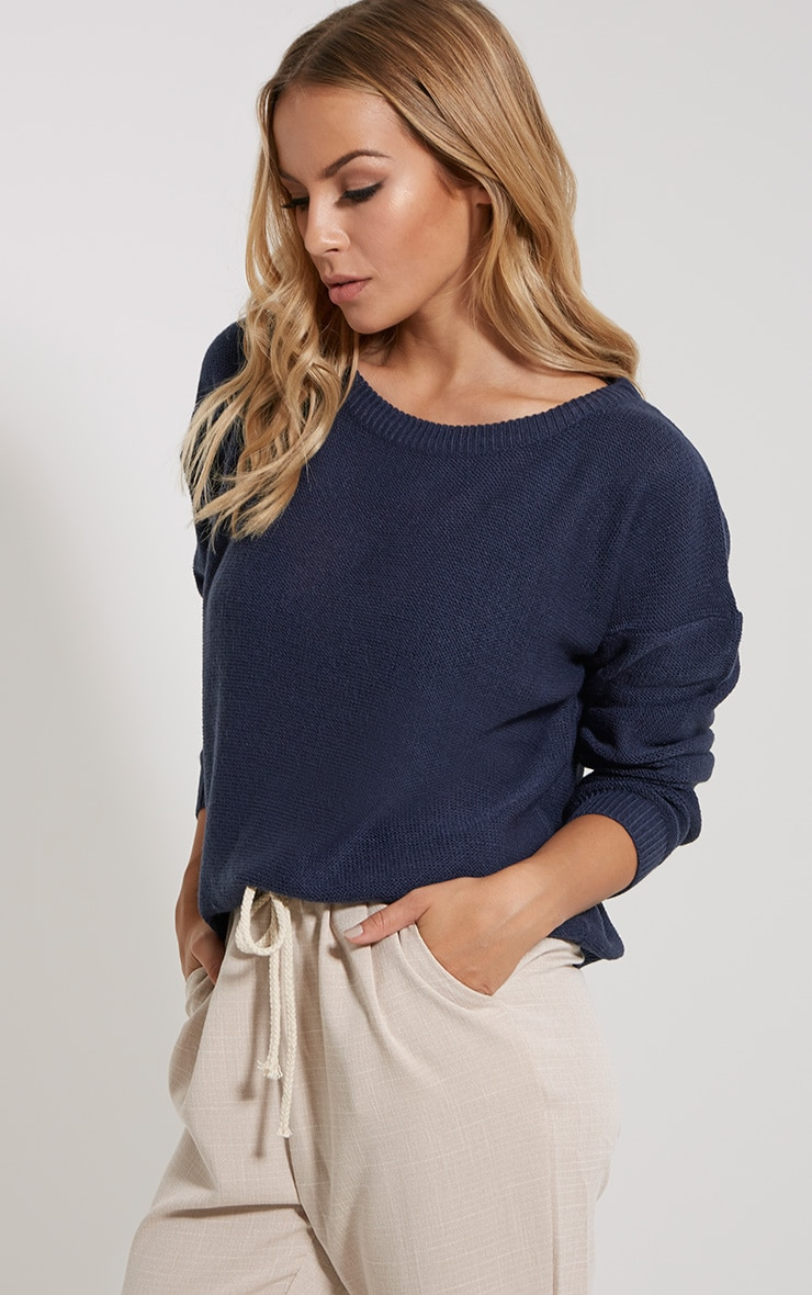 Farren Indigo Knitted Crop Jumper 4