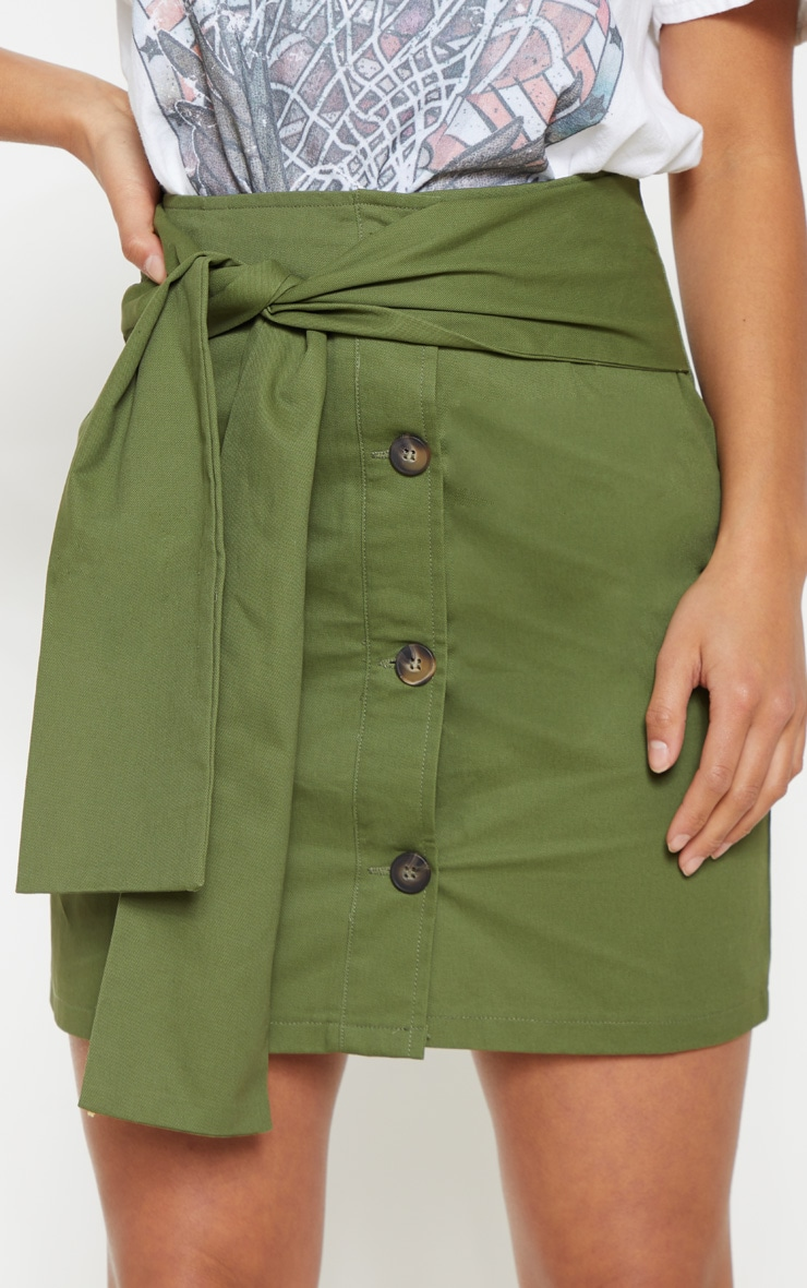 Petite Khaki Button Up Tie Front Skirt 5