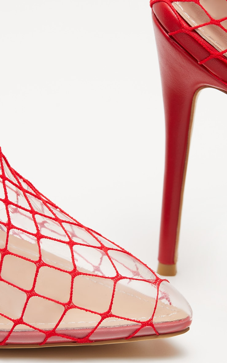 Red Fishnet Slingback Pointed Toe Heels 4