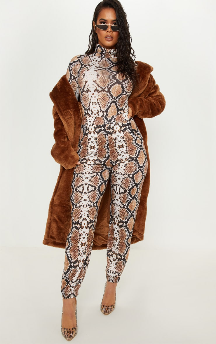 Tan Snake Print Roll Neck Long Sleeve Bodysuit 5