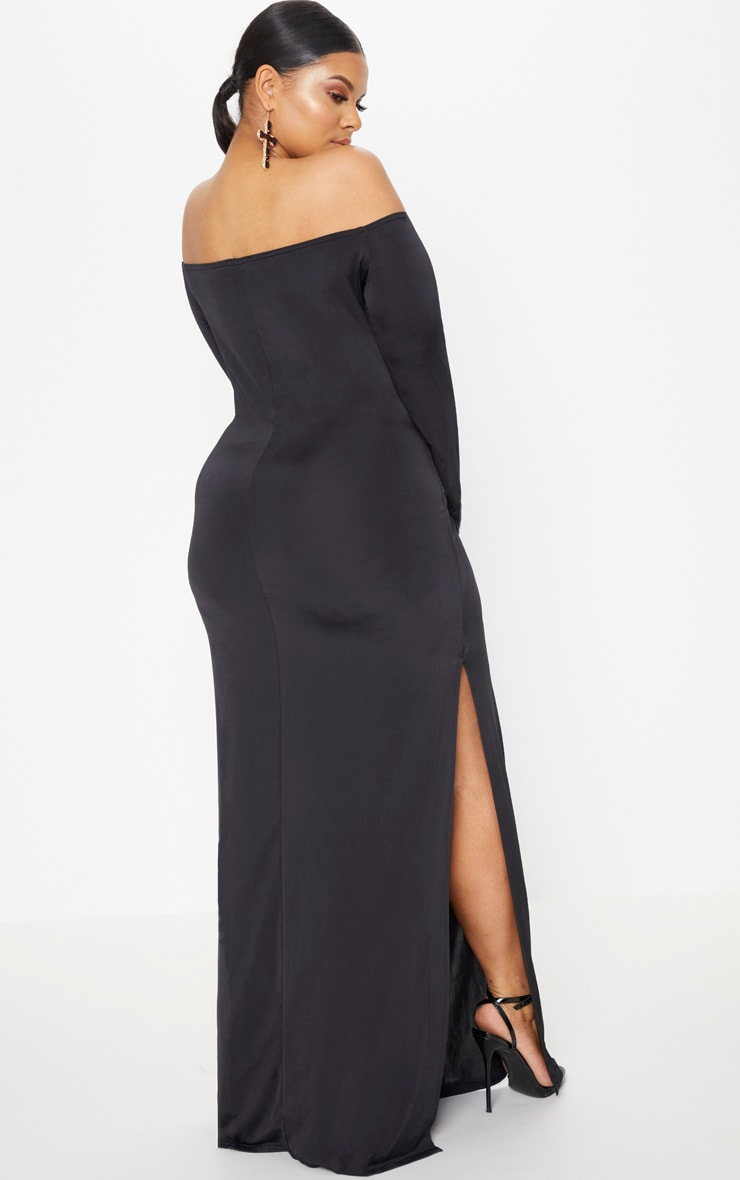 Plus Black Slinky Bardot Maxi Dress 2
