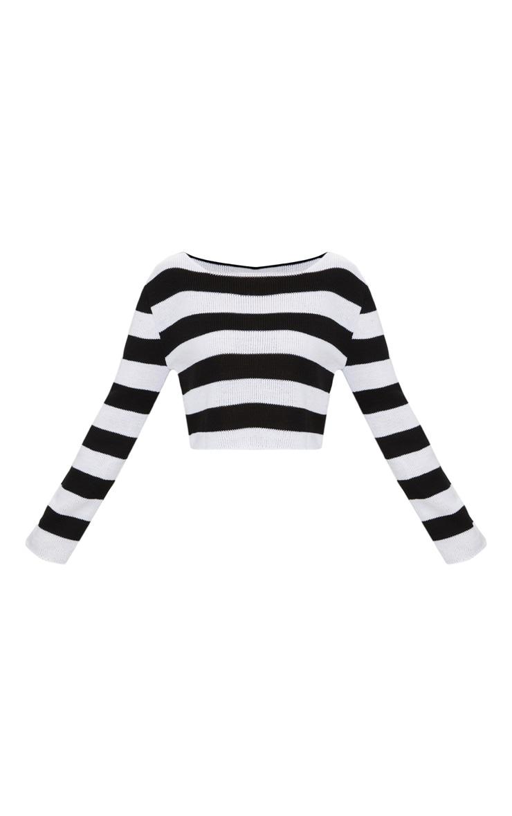 Petite Black Striped Knit Crop Top 3