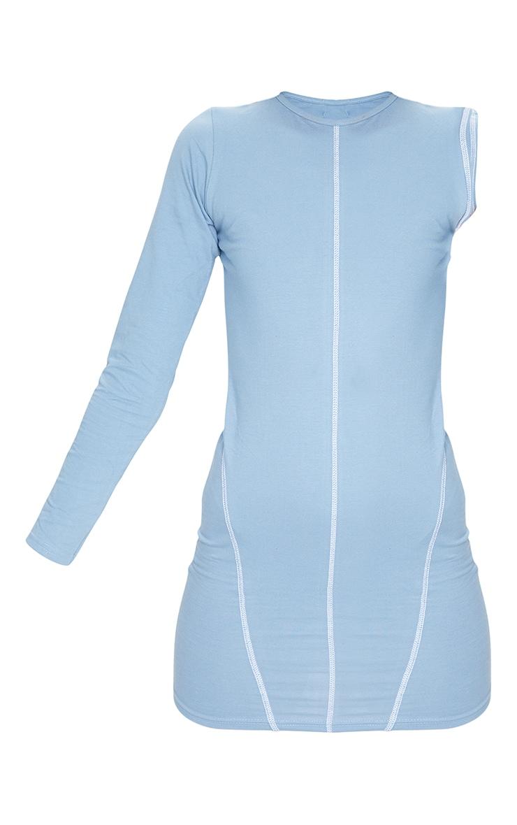 Blue Cotton Contrast Stitch Detail One Shoulder Bodycon Dress 5