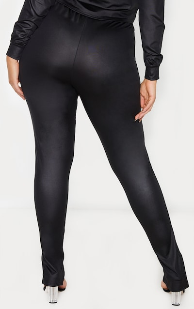 Plus Black Coated Split Hem Trouser