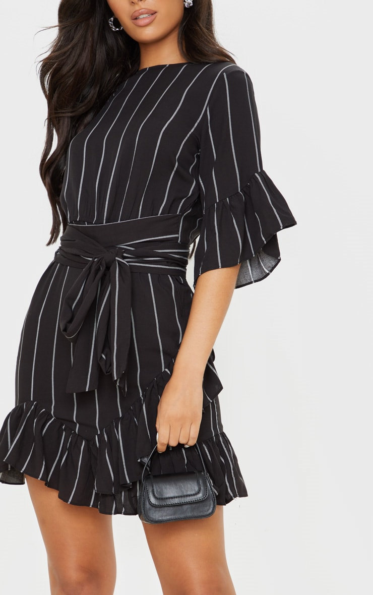 Black Stripe Frill Detail Mini Dress 6