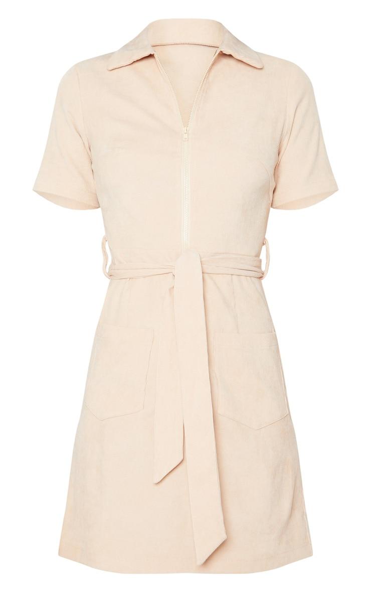 Stone Cord Zip Front Tie Waist Shirt Dress 4