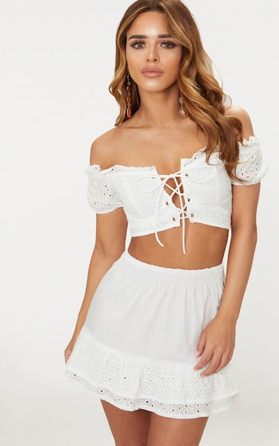 31104ef4637 Petite White Lace Up Detail Broderie Anglaise Crop Top