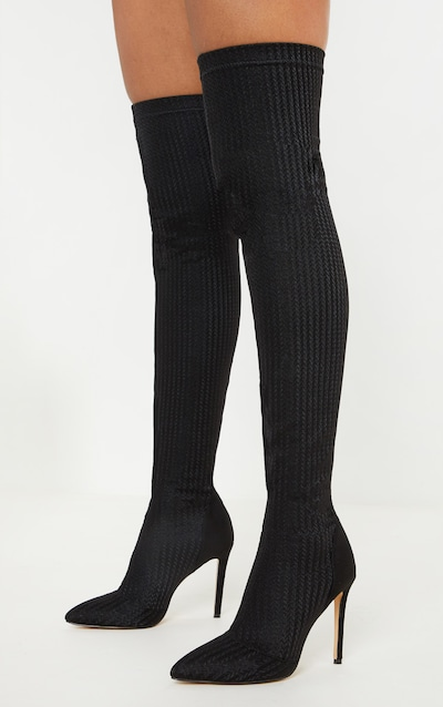 c3bd4478105 Black Thigh High Sock Boot
