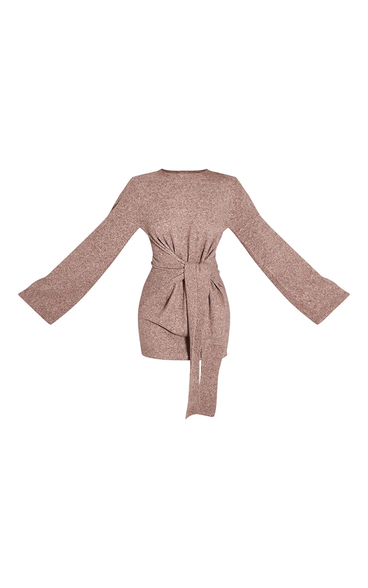 Recycled Mocha Knitted Tie Front Wide Sleeve Dress 5