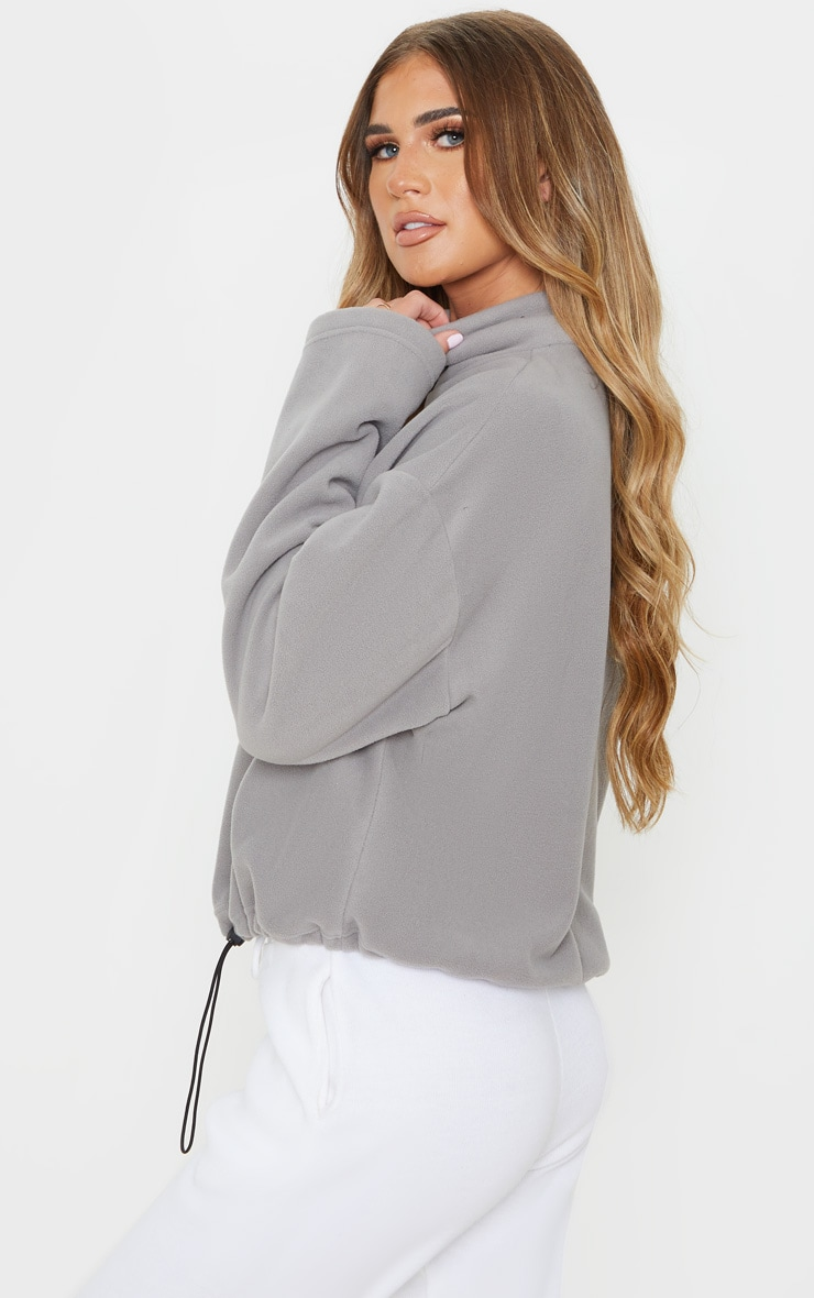Grey Zip Front Crop Fleece Sweater 2