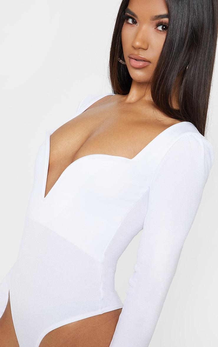 White Long Sleeve Plunge Bodysuit 6