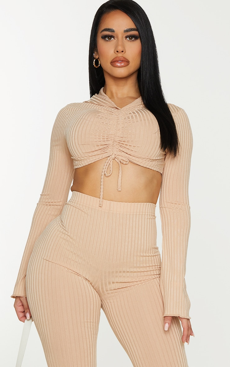 Shape Stone Rib Hooded Ruched Crop Top 1